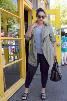 Tanesha Awasthi (formerly known as Girl with Curves) wearing a Waterfall Utility Jacket Adidas Sandals, Leggings and Celine Phantom bag.