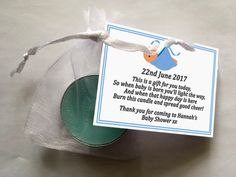 Personalised Baby Shower Favour Gift Tea Light Candle BLUE in Organza Bag 10pck by GiftPlanetUK on Etsy