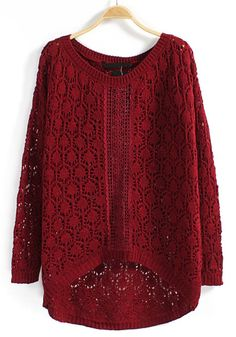 Red Hollow-out Irregular Round Neck Blend Sweater I love over sized sweaters and sweatshirts :)