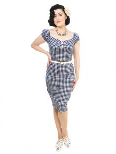MISS LOVETT - Handmade Rockabilly Clothing - Collectif DOLORES Karo Pencil Kleid BLAU