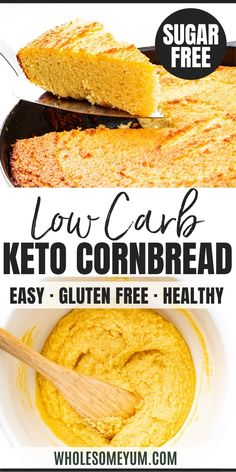 Low Carb Keto Cornbread Recipe Low Carb Keto Cornbread Recipe – Easy keto cornbread is the side your chili and soups need! My low carb almond flour cornbread recipe is made with a secret ingredient that makes it taste like the real thing. Keto Cornbread Recipe, Easy Keto Bread Recipe, Best Keto Bread, Lowest Carb Bread Recipe, Bread Recipes, Cornbread Recipe For Diabetics, Keto Corn Bread, Healthy Cornbread, Recipe List