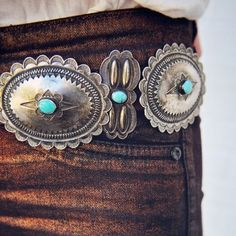 metallic denim paired with a vintage concho belt--Double D Ranch