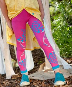 Take a look at this Pink Blueberry Organic Leggings - Girls by Luna Leggings on #zulily today!