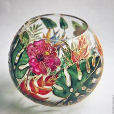 Купить Подсвечник - вазочка В тропическом саду - подсвечник из стекла, азия, индия, восток