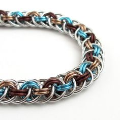 Chainmail bracelet, Viper Basket weave, turquoise and brown by TattooedAndChained, $35.00 #fashion #handmade #jewelry