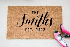 The Last Name Doormat with established date. Would make a cute and wonderful gift for newlyweds, married folks or as wedding gift.  ** In the note section during checkout, please let me know the PLURAL form of the last name that you would like on the mat and also, the marriage year. Most names will end in -s (Smiths, Grays, Johnsons, etc). If the name ends in s, x, ch, sh, or z, the proper way to make it plural is to add -es. (Joneses) An apostrophe should NOT be used in the plural form of a…