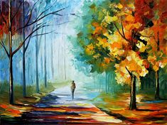 Alone in the fog — palette knife landscape oil painting on canvas by leonid afremov - Leonid Afremov Paintings, Oil Paintings, Landscape Paintings, Original Paintings, Modern Paintings, Landscape Art, Oil Painting On Canvas, Painting Art, Oil Painting Reproductions