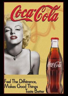 A classic Marilyn Monroe Coca-Cola tin sign - Coca Cola - Ideas of Coca Cola - Ideas of Coca Cola - A classic Marilyn Monroe Coca-Cola tin sign Propaganda Coca Cola, Coca Cola Poster, Coca Cola Ad, Always Coca Cola, World Of Coca Cola, Coca Cola Bottles, Vintage Coca Cola, Vintage Advertisements, Vintage Ads
