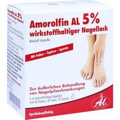 AMOROLFIN AL 5 prozent wirkstoffhaltiger Nagellack:   Packungsinhalt: 5 ml Wirkstoffhaltiger Nagellack PZN: 09091234 Hersteller: ALIUD…