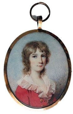 James Nixon, circa 1800 A charming portrait of a young boy with brown hair, wearing a red jacket with gold buttons and white chemise with lace falling collar Signed on the obverse with the initial N, set in gold frame, the reverse with vari-coloured locks of hair tied with gold wire on blue glass    Dimensions: Oval, 2 1/2 inches high