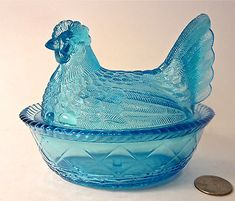 RARE Old Authentic GREENTOWN Glass Blue HEN ON NEST Covered Dish EAPG Antique