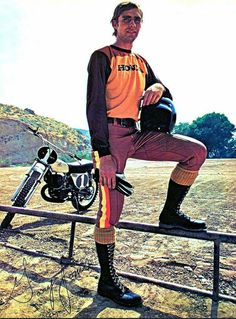 Three time 250 National Motocross champion Gary Jones with the new 1973 Honda CR250M Elsinore