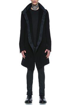 RICK OWENS   Wool Limo Peacoat in Black