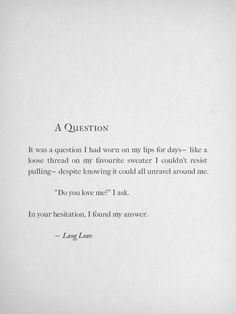 A Question By Lang Leav