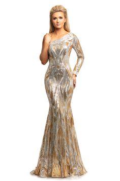 Johnathan Kayne 2031 Sequin Embellished One Sleeve Mermaid Prom Dress – Glass Slipper Formals Gala Dresses, Dressy Dresses, Sparkly Dresses, Wedding Dresses, Long Sleeve Evening Dresses, Evening Gowns, One Shoulder Prom Dress, Trumpet Dress, Formal Gowns
