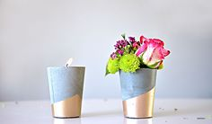 Vaso de cimento utilizando copos plásticos