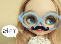 My Mustache Blue  White Glasses by 24PM on Etsy
