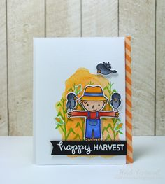 Lawn Fawn - Happy Harvest, Let's Polka in the Dark _ gorgeous card by Heidi… Fall Cards, Winter Cards, Fall Friends, Paper Crafts Magazine, Lawn Fawn Stamps, Paper Smooches, Thanksgiving Cards, Card Patterns, Cute Cards