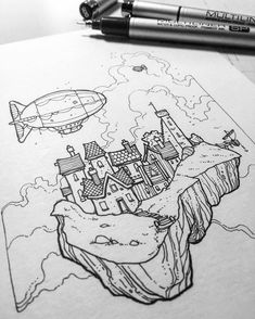 In this #blackandwhite #pendrawing Rob Turpin (@thisnorthernboy) has designed an inviting little town built on top of a floating hunk of stone accessible only by airship.  I love the design of the both the dirigibles in the foreground and in the background and of the small docked ship on the right side as well as the architecture of the buildings in this village amongst the clouds. Even the shape of floating piece of Earth has an aesthetically pleasing quality to it with its thick black…