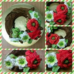 Xmas Fresh Cream Flower Wreath #LOLCake #LouisNg #FreshCream #FreshCreamFlower #TwigWreath #Poinsettias #PineCones #Leaves  #ximiCake #BakedByPriscillia #BakedByPeien  www.Facebook.com/ximiCake