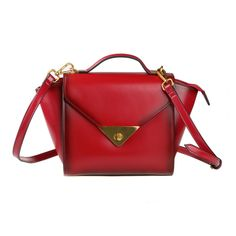 Red Leather Cross-Body Bag Handbag via Women's Fashion Bags. Click on the image to see more!