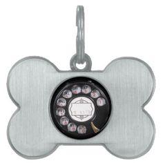 Retro Funny Black Rotary Phone Pet ID Tags