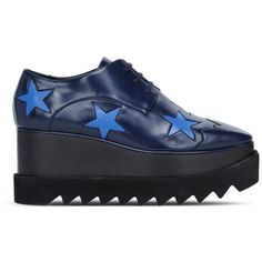 Stella McCartney Blue Elyse Star Shoes ($825) ❤ liked on Polyvore featuring shoes, blue black, blue oxford shoes, wedge shoes, rubber sole shoes, oxford wedge shoes and star shoes
