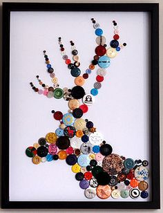 Framed Stag Button Artwork Could do in pink, grey, white, black for baby girls room