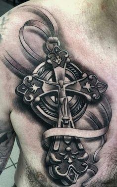 150 Best Cross Tattoos for Men - Piercings Models Jj Tattoos, Tatuajes Tattoos, Chicano Tattoos, Great Tattoos, Life Tattoos, Beautiful Tattoos, Black Tattoos, Body Art Tattoos, Sleeve Tattoos