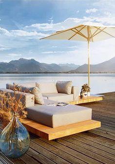 solpuri | PLATEAU Lounge | Material: teak and weatherproof upholstery