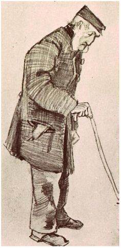 Vincent van Gogh Drawing, Black chalk The Hague: December, 1882 Centraal Museum Utrecht, The Netherlands, Europe F: 963, JH: 297 Image Only - Van Gogh: Orphan Man with Cap and Walking Stick