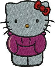 Geisha Kitty Embroidery Design