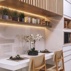 Aquele cantinho primordial na cozinha, espaço para refeições rápidas do dia a dia que pode ser funcional e charmosa!☺️ Projeto assinado…