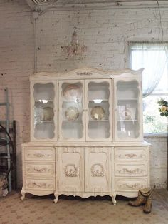 Painted Cottage Chic Shabby White Romantic French China Cabinet CC58