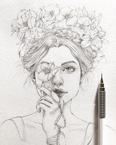 madison v roce 2019 art sketchbook, art sketches a dr Pencil Art Drawings, Art Drawings Sketches, Cool Drawings, Drawing With Pencil, Pencil Sketch Art, Drawings Of Flowers, Beautiful Drawings, Portrait Sketches, Portrait Art