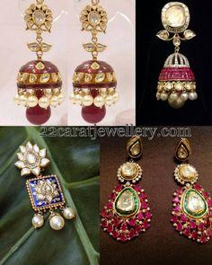 Jewellery Designs: Meena Work Kundan Jhumkas
