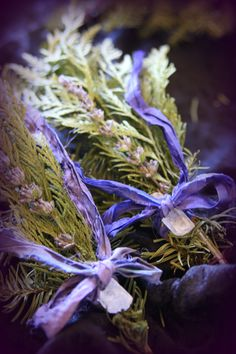 Imbolc crafting - magical posies using leftover branches from Christmas trees
