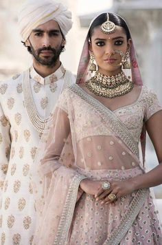 Indian Fashion — The Udaipur Collection by Sabyasachi Mukherjee Couple Wedding Dress, Indian Wedding Couple, Indian Wedding Outfits, Bridal Outfits, Indian Bridal, Indian Outfits, Indian Clothes, Bengali Wedding, Ethnic Outfits
