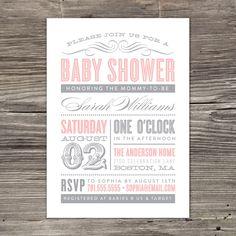 Old Fashioned Baby Shower Invitation. $20.00, via Etsy.