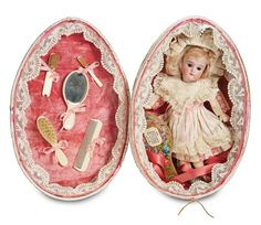 Pretty German Bisque Child,192,by K*R in Charming Egg Presentation. Circa 1900. http://Theriaults.com