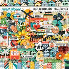 Digital Scrapbook Page Inspiration, San Francisco, California by Jady Day Studio & Amanda Yi