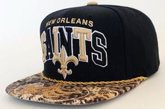 Handcrafted Custom New Orleans Saints Snapback Hat by Snap'Em Back Sports for $54.99 + free shipping!