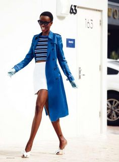 Striped tee + white skirt + blue trench coat pairing