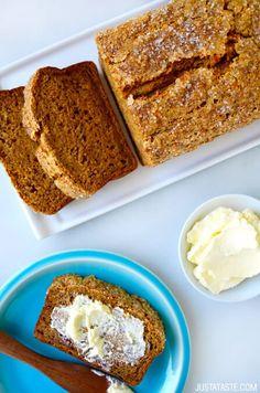 Pumpkin Banana Bread | #recipe via justataste.com