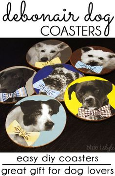 These easy DIY dogs coasters would make the perfect gift for the dog lover in your life! Customize the coasters with your own photos and add bow ties for a fun and whimsical look! This craft project costs less than $8 to make, or just $2 if you have a couple of basic craft supplies already on hand. Detailed, simple tutorial!