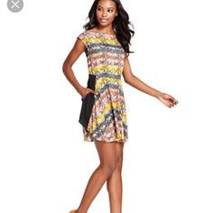 Cco Rachel Roy>Python Stripe Dress W/Pockets Euc