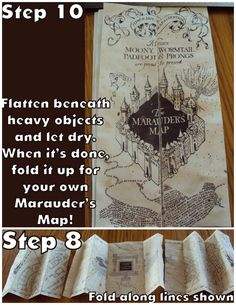 DIY Hary Potter Marauders Map Tutorial and Printable from Harry Potter Paraphernalia. This is one of the coolest Harry Potter DIYs I have ever seen. If you like the map, download her free PDF because you never know when something is going to...