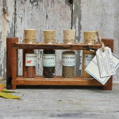 Reclaimed Wood Spice Rack with Mulled Apple Cider  $68
