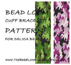 Bead Loom Cuff Bracelet Pattern by thebeadloomgallery Loom Bracelet Patterns, Bead Loom Bracelets, Bead Loom Patterns, Peyote Patterns, Jewelry Patterns, Loom Bands, Bead Jewellery, Beaded Jewelry, Beading Patterns Free