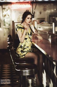 Karen Gillan by Bruno Barbazan and styled by Arabella Greenhill for Marie Claire UK April 2011 - love this dress too Karen Gillan, Karen Sheila Gillan, Soft Grunge, Pinup, Retro Diner, Amy Pond, Girl Crushes, Doctor Who, Rockabilly